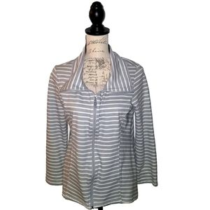 White and Grey Stripe Zip Front Collar Jacket